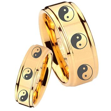 His Her Glossy Step Edges Multiple Yin Yang 14K Gold IP Tungsten Wedding Rings Set