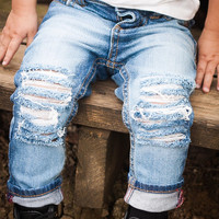 The Bees Knees-Unisex Skinny jeans boys girls denim distressed jeans baby toddler clothes hipster fashion ripped jeans  in