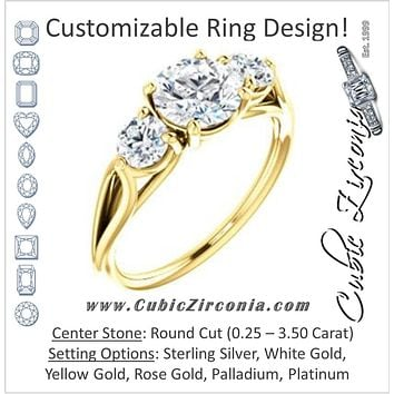 Cubic Zirconia Engagement Ring- The Estefi (Customizable Cathedral-set Round Cut 3-stone Design with Round Accents & Split Band)