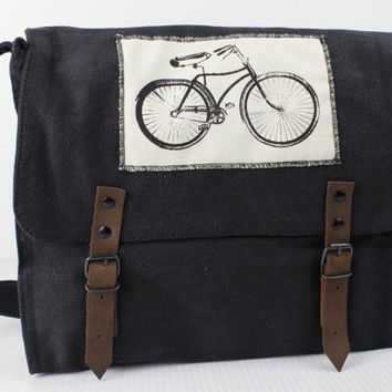 Vintage Black Medic Bag with Bicycle Patch - Free Shipping