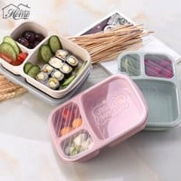 Lunch Wheat Straw Bento Box 3 Grid With Lid Microwave Food Box Biodegradable Storage Container Lunch Bento Boxes Dinnerware Set
