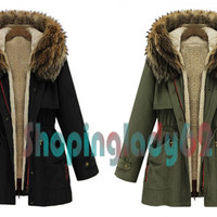 Women's Thick Military Jacket Fleece Fur Hood Long Winter Coat Fur Lining Parka