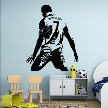 Cristiano Ronaldo Figure Wall Sticker Vinyl DIY home decor football star Decals soccer athlete for kids room