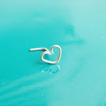 Tiny Sterling Silver Heart Nose Stud, Gold Infinity Heart Ring, Tiny Nose Heart Earring, Heart Nose Earring, Heart Post Earring