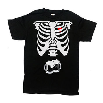 Beer Skeleton Rib Cage Shirt Halloween TShirt Halloween Costume Funny T-Shirt Expectant Father Dad To Be Gift For Dad Beer Mens Tee - SA339