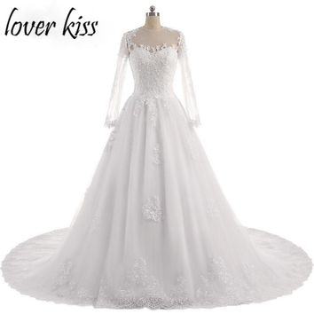Lover Kiss Vestido De Noiva O-Neck Iusion Back Long Sleeve Wedding Dress Lace Ball Gown Wedding Gowns Custom-Made Wedding Dress