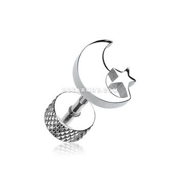 A Pair of Crescent Moon & Star Steel Fake Plug Earring