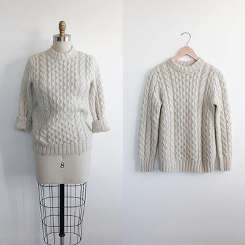 Vintage 70s Wool Ivory White Cable Knit Long Sweater | small