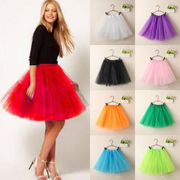 Adult Women Girl Princess Petti skirt Party Ballet Tutu Skirt Mini vestidos 17Color vestidos mujer