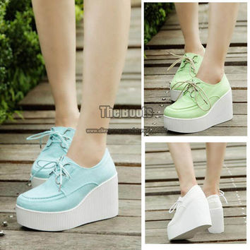 2013 White Blue Green High Heel Platform Wedge Flatform Casual Canvas Shoes Fashion Lace Up Elevator Sneakers For Women