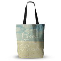 "Alison Coxon ""Gone To The Beach"" Tan Blue Tote Bag, 13"" x 13"" - Outlet Item"