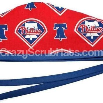 Men's Unlined Surgical Scrub Hat Cap in Philadelphia Phillies