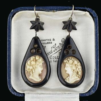 Victorian Antique Whitby Jet Cameo Earrings 1800s