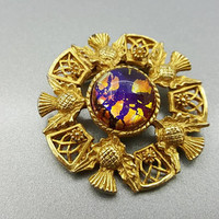Art Glass Scottish Thistle Brooch Round gold tone Unsigned