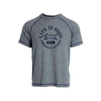 Life is good Mens Crew Neck Heathered Graphic Tee