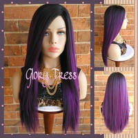 ON SALE // Long & Straight Full Wig, Ombre Purple Wig, Yaki Straight Wig, Lace Part Full Wig // SARAH