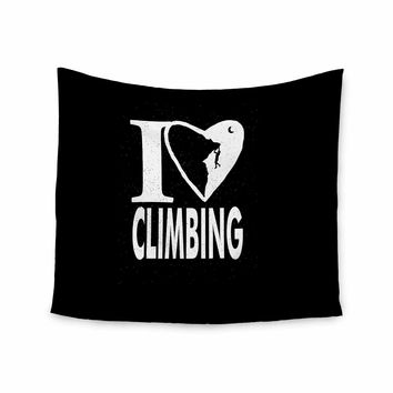 "BarmalisiRTB ""I Love Climbing"" Black White Love Sports Digital Illustration Wall Tapestry"