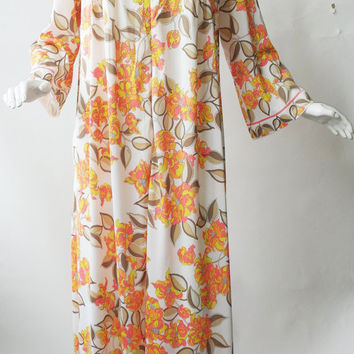 EPFR 1970's Emilio Pucci for Formfit Rodgers Maxi Zip-Up Lounge Robe  White Orange Floral