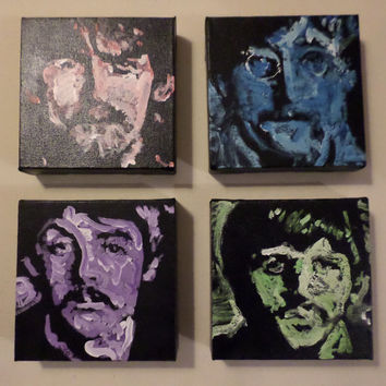 "The Beatles ""Fab 4 in Technicolor"" - Four Small Unique Acrylic Paintings on Canvas - Small Popart Paintings - Hand Painted - Fun Accent"