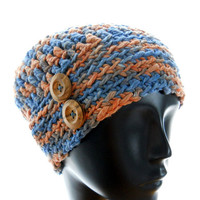 Hand-dyed cotton hat, women's crocheted beanie hat, denim and orange beanie, fall fashion, winter fashion, extra small to small hat