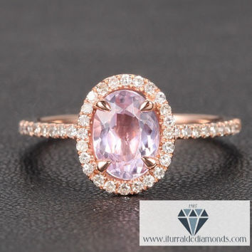 Oval Cut Kunzite Diamond Pave Halo Engagement Cocktail Ring
