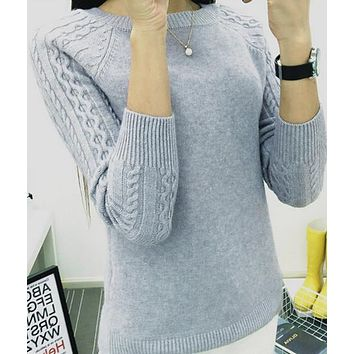 FITTED SWEATER WITH CABLEKNIT SLEEVES