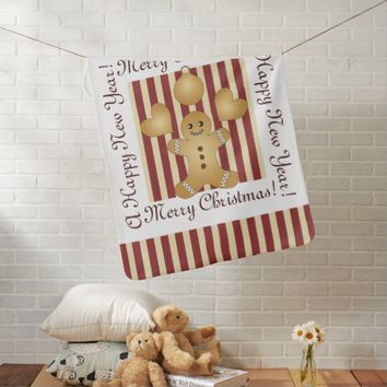 Cute Christmas Holiday Cookie Cartoon Personalized Stroller Blanket