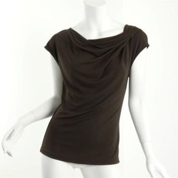 Michael Kors Collection Brown Draped Cowl Cap Sleeve Top Blouse Size 8