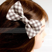 Hair Bow Clip- Gingham, Brown, Cream, Toma's Tutus and Things