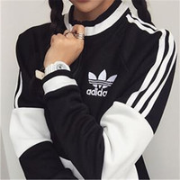 """Adidas"" Fashion Zipper Pullover Tops Sweater Sweatshirts"