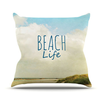 "Iris Lehnhardt ""Beach Life"" Beach Blue Outdoor Throw Pillow"
