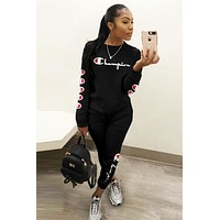 Champion Fashion Women Casual Print Top Pants Trousers Set Two-Piece Sportswear Black