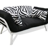 American Furniture Alliance Modern Loft Collection Futon Mali Flex Combo, Zebra Print