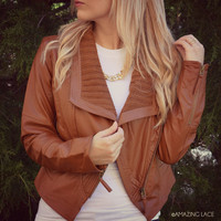 SZ LARGE New York Minute Camel Leather Jacket