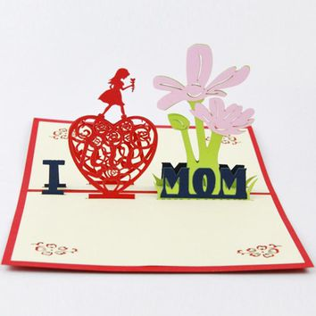 3D Greeting Cards I LOVE MOM Thank You Card Handmade Pop Up Heart Shape Paper Cut Mother's Day Christmas Gift Card