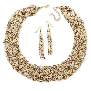 Ivory and Bronze Seed Beaded Collar Necklace and Earrings