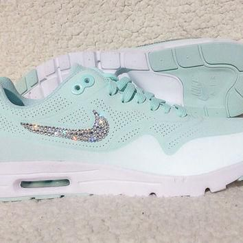 Swarovski Crystal Nike Air Max 1 Ultra Moire Fiberglass Bling Nike Shoes