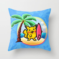 Pika Surf Throw Pillow by Likelikes