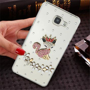 Luxury 3D fox rose bling Crystal Mobile phone Shell Transparent Back Cover Skin Hard Case For Samsung Galaxy A3 2016 SM-A310F