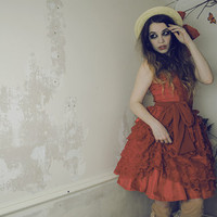 FAIRYTALE Dress Ready to Ship in Reds with Petticoat included