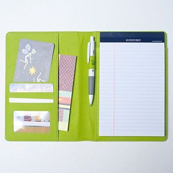 AHZOA Colorful 4 Pockets A5 Size Memo Padfolio S1, 50 Sheets Writing Pad Included Synthetic Leather Handmade About 6.3 X 8.7 Inch Folder Clipboard Holder (green)