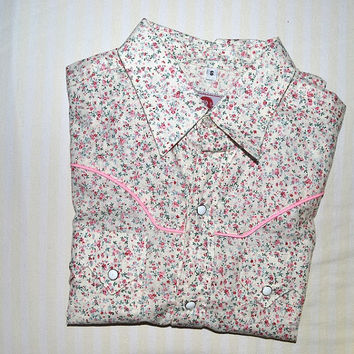 Womens Floral Shirt Vintage Button Up Blouse Cute Kawaii Top Small Medium S M 90s 1990s