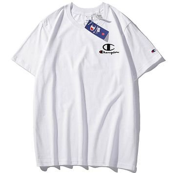 Champion 2019 new classic embroidery logo couple round neck half sleeve t-shirt white