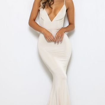 Glowing Goddess White Sleeveless Spaghetti Strap Plunge V Neck Ruched Back Mermaid Maxi Dress