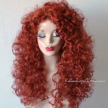 Spring Special // Merida Brave hairstyle inspired.Curly Auburn hair wig.  Cosplay wig. Auburn long curly wig. High quality  Costume wig
