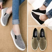 New Women Casual Slip On Boat Flats Sneakers Low Top Platform Shoes Skateboard