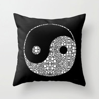 Throw Pillow Yin And Yang Black White Mosaic Zen Art Design Home Sofa Bed Chair Couch Decor Decorating Living Room Bedroom Bedding