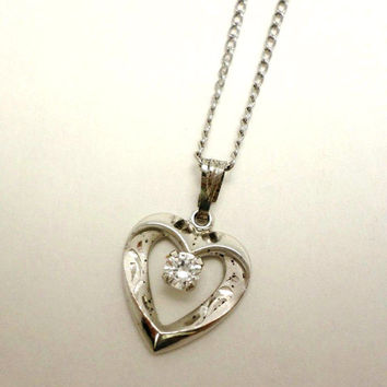 Valentines's Heart Sterling Silver Necklace Pendant Engraved Vintage Stamped 925 Chain Tiny