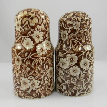 Vintage Chintz Calico Brown English Transferware  Salt and Pepper Shakers - Kitchen Decor - Farmhouse Style
