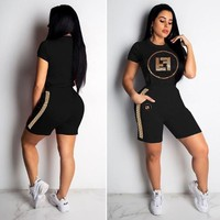 FENDI New Popular Women Short Sleeve Top Shorts Suit Two-Piece